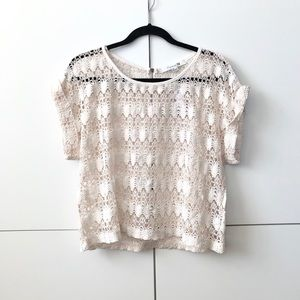 2/$25 Cream open-knit crochet short sleeved top